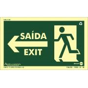 Placa Fotoluminescente Saída/Exit/Seta Para Esquerda S22E (25x15cm)