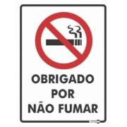 Placa Obrigado Por Não Fumar PS252 (20x15cm)