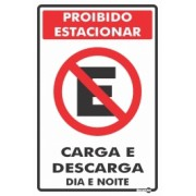Placa Proibido Estacionar Carga/Descarga PS113 (30x20cm)