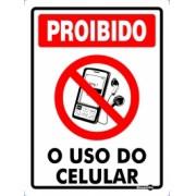 Placa Proibido Uso Do Celular PS157 (20x15cm)
