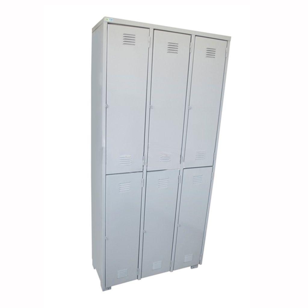 Armário Roupeiro De Aço 6 Portas Para Cadeado Só Aço 186x102cm PA0583