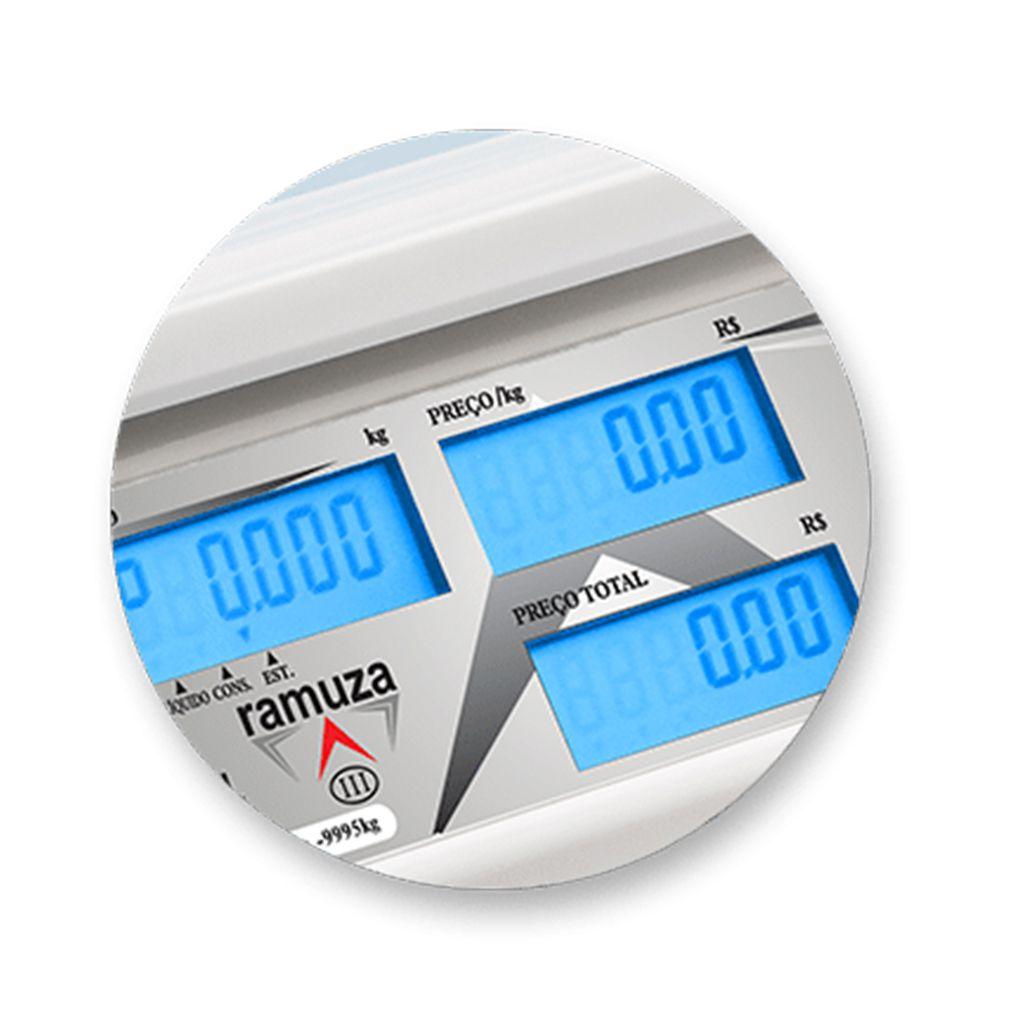 Balanca comput 15kg/5g c/ bat. s/ saida 127/220v ramuza mod.dcrb-15cl ref 1056