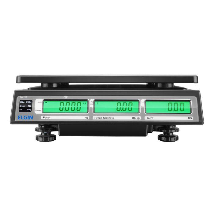 Balanca comput. 15kg com bat. com saida 110/220v elgin mod. sa-110
