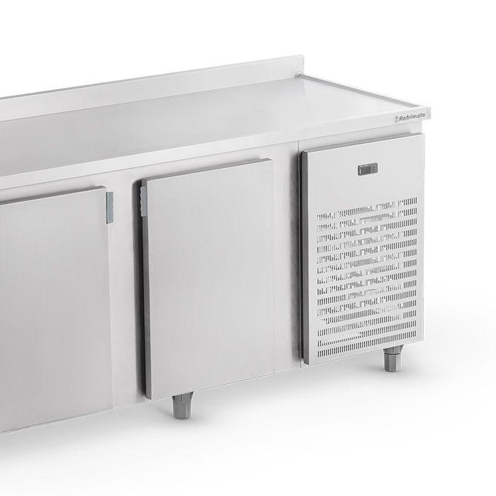 Balcao frigorifico de encosto 2,00 mt 220v em inox refrimate mod.bsr2000