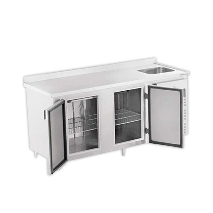 Balcao frigorifico de encosto c/ pia 1,50 mt 127v em inox refrimate mod.bsr1500