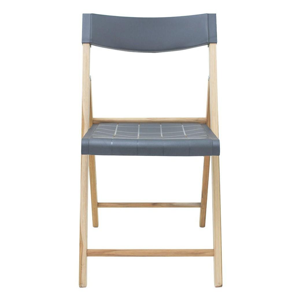 Cadeira Dobrável Em Madeira Teca Natural Grafite Potenza 78x42x54cm Tramontina