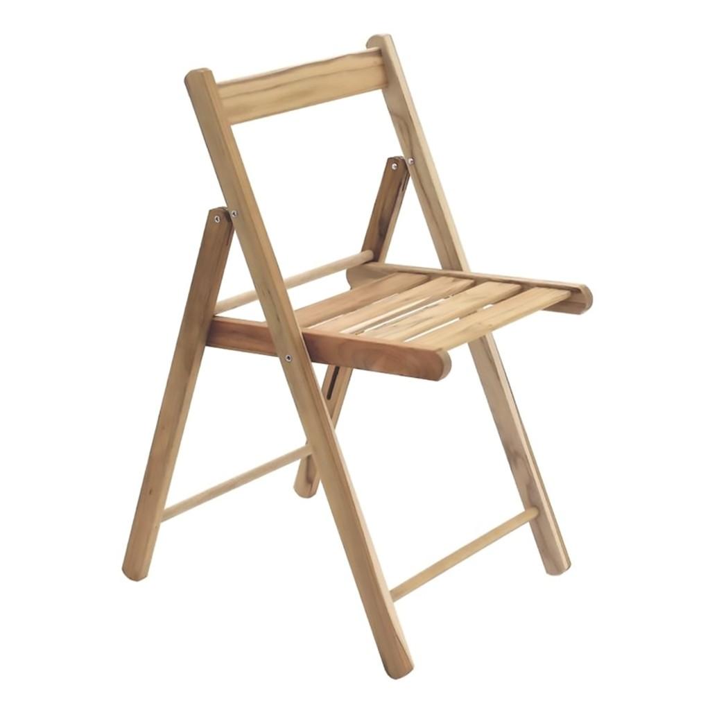 Cadeira Dobrável Em Madeira Teca Natural Lille 77x52x42cm Tramontina