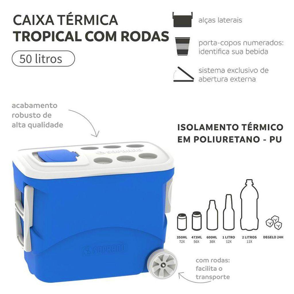 Caixa termica 50lt soprano c/ rodas tropical  azul ref. 09000.0033.55