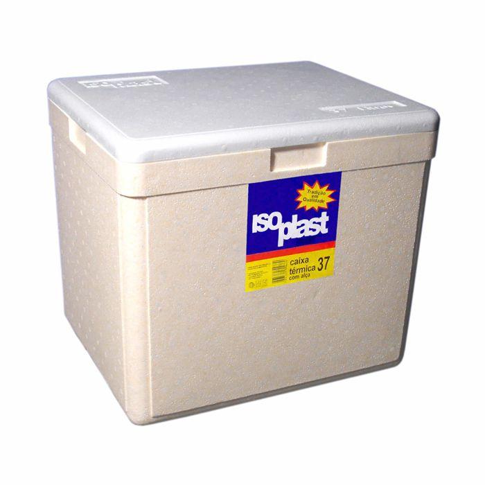 Caixa termica de isopor 37 lts com alca isoplast dim. a408 x l372 x c460 mm