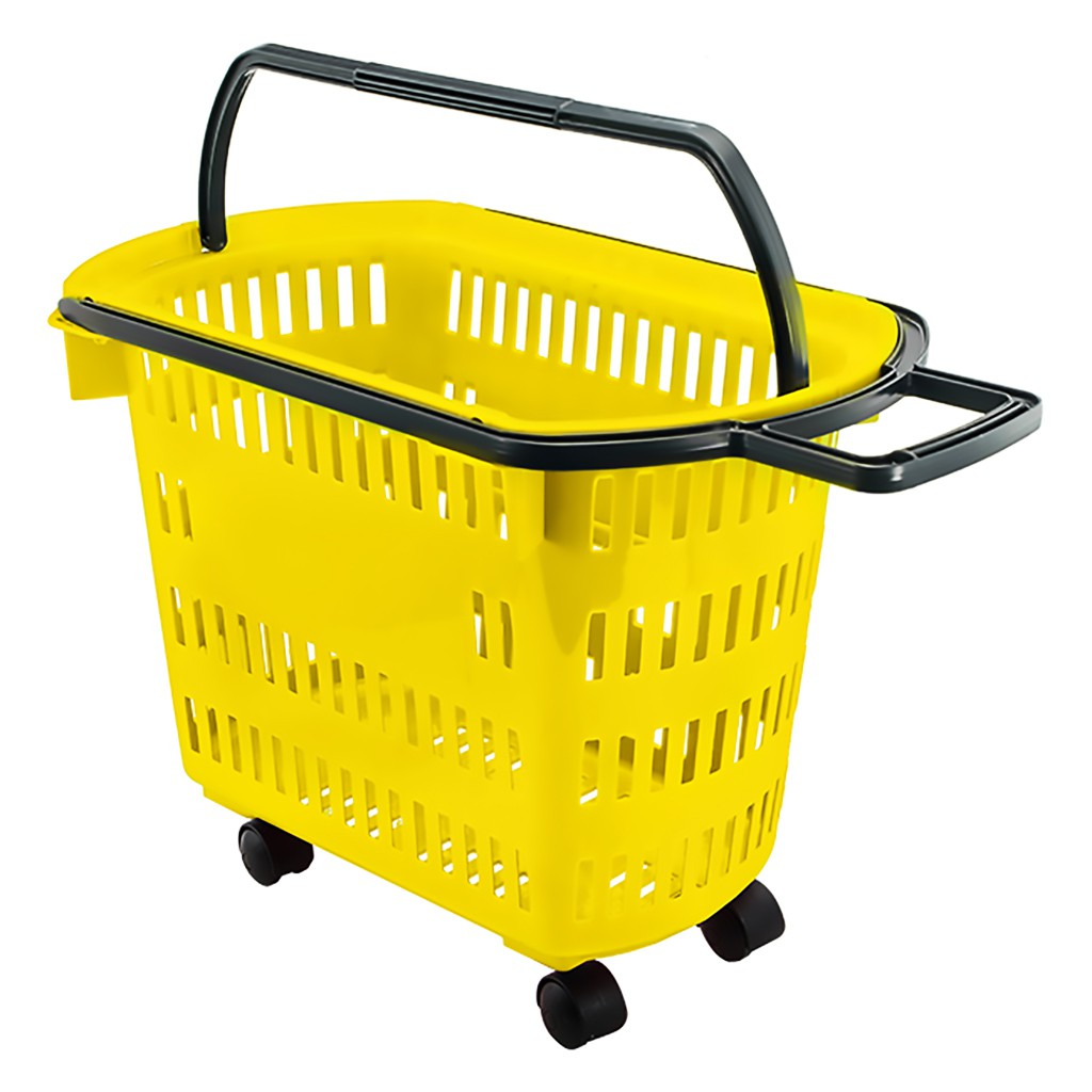 Cesta Plástica Para Mercados Com Rodas Della Plast Amarela