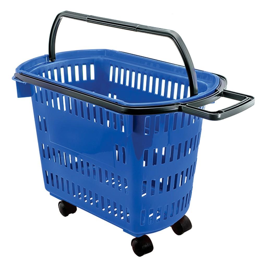 Cesta Plástica Para Mercados Com Rodas Della Plast Azul