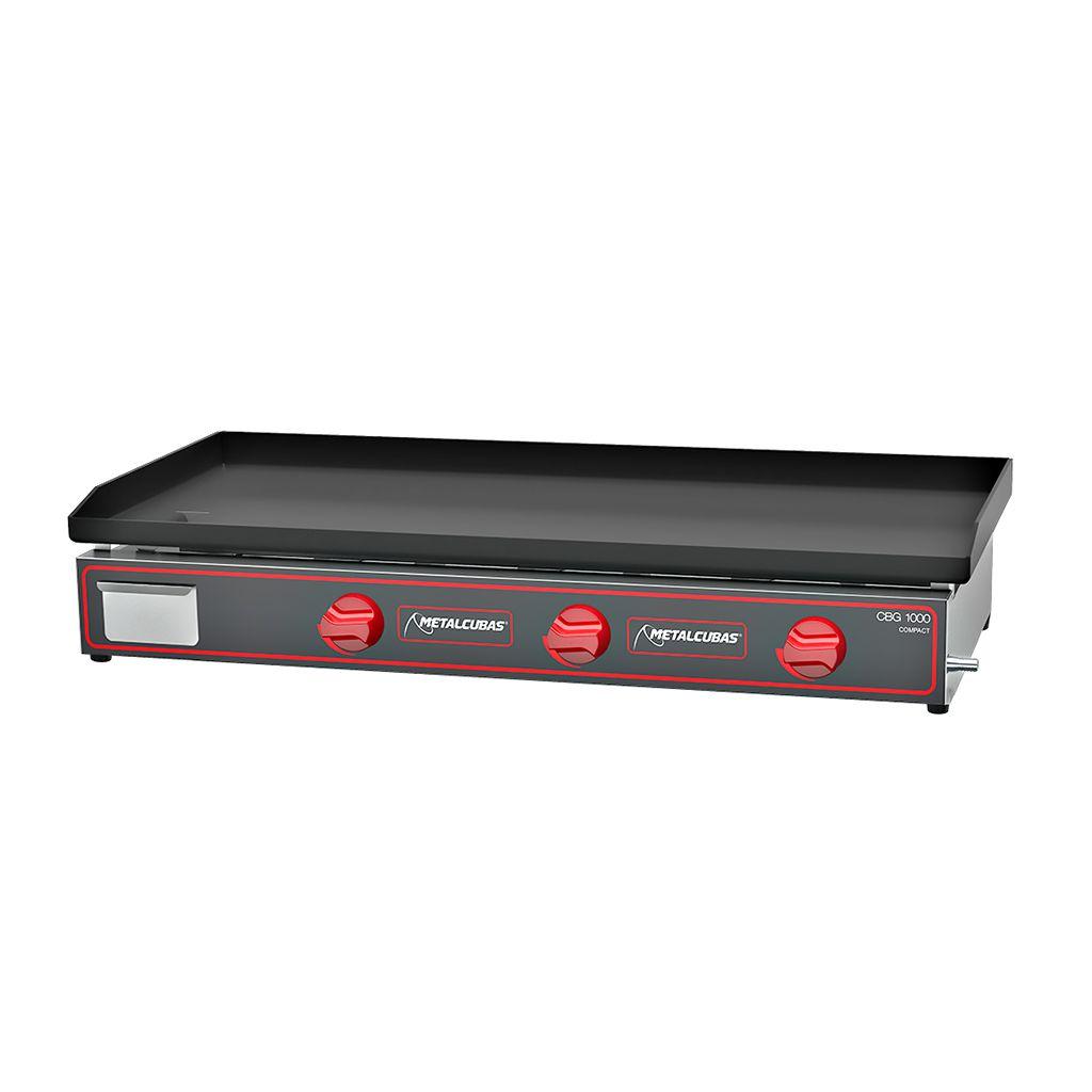 Chapa Para Lanche à Gás Compact 100cm 3 Queimadores Metalcubas CBG-1000 C