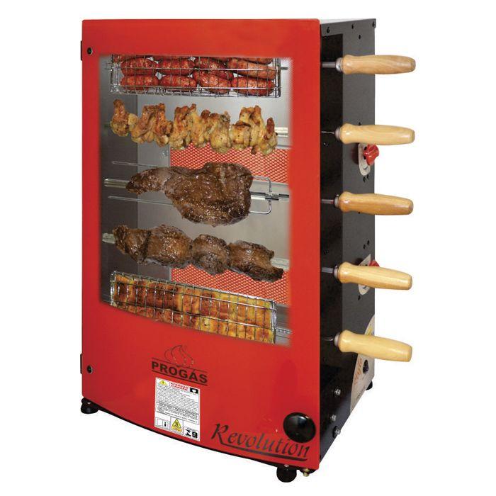 Churrasqueira a gas c/ 5 espetos girat. 127/220v progas prr-051 ref.24465/30696