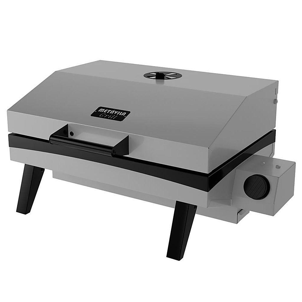 Churrasqueira  a gas esmaltada portatil metavila 28x59x44cm cinza mod.gs500ec