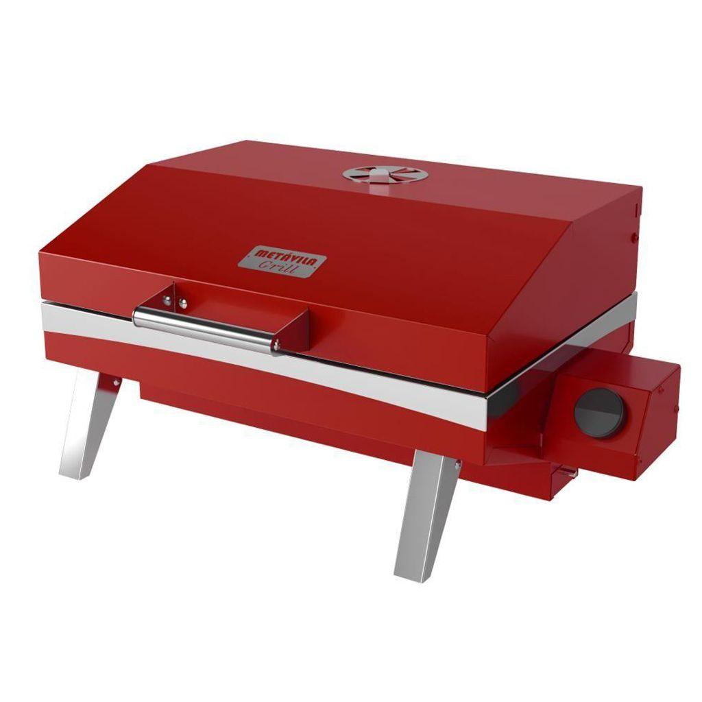 Churrasqueira a gas inox portatil metavila 28x59x44cm vermelho mod.gs500v