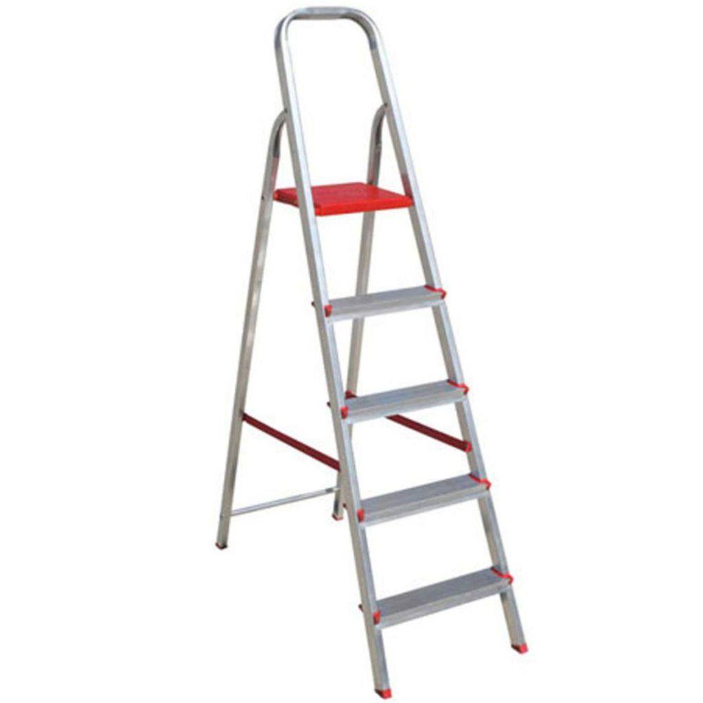 Escada de Alumínio 5 Degraus 1,66m Botafogo -  Vermelha