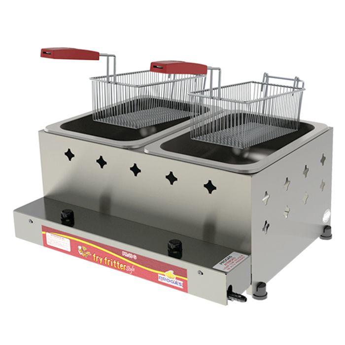Fritador a gas 10lt 2 cestos 2 depositos alta pressao progas mod.pr-20g 5031