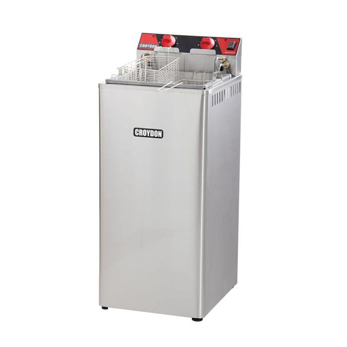 Fritador eletrico a oleo e agua 25 lts 2 cubas 220v 5000w croydon mod. fa25