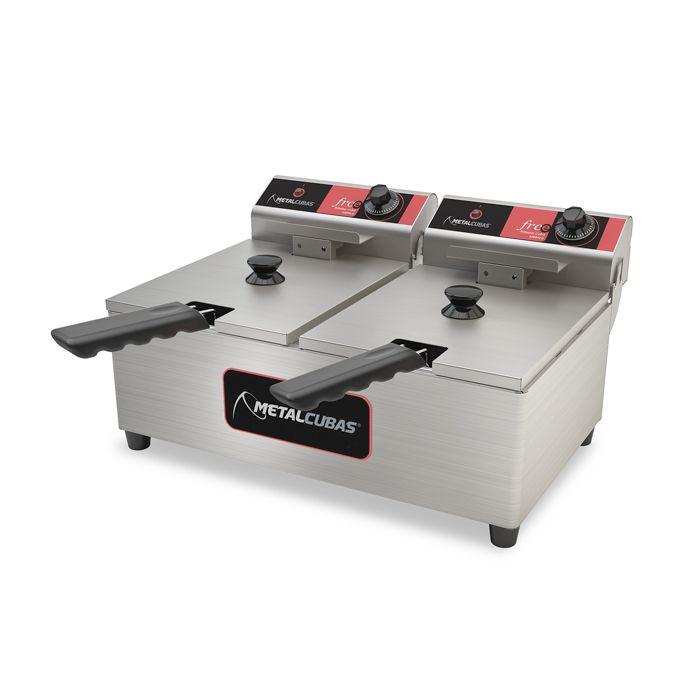 Fritador eletrico 10lts 2 cestos 2 dep. 220v metalcubas mod. frce10 ref. 15050g