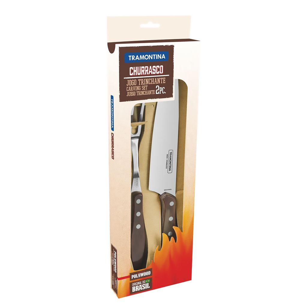 Kit churrasco tramontina   2 pecas castanho polywood ref. 21198/960