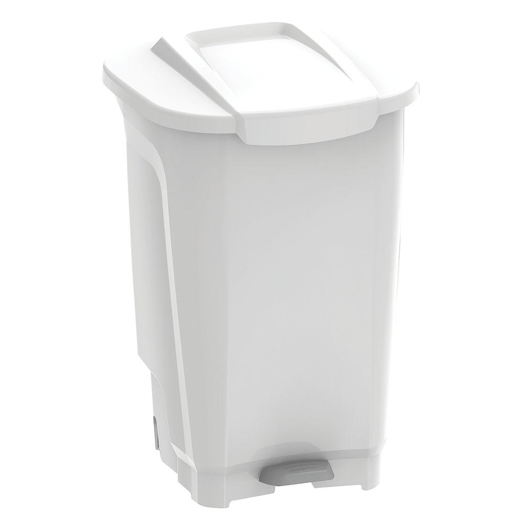 Lixeira    100lt c/ pedal plastico tramontina branco t-force ref. 92814010