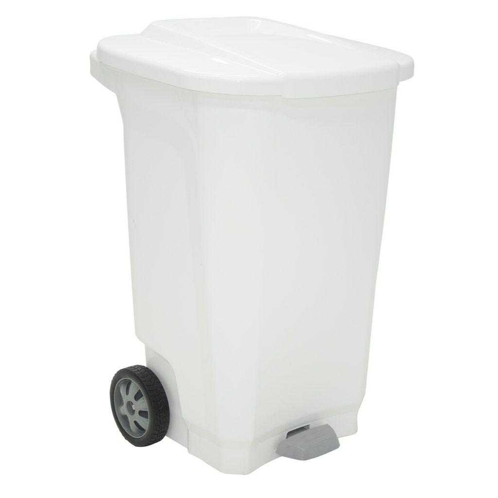 Lixeira    100lt c/ roda plastico tramontina branco t-force ref. 92815010