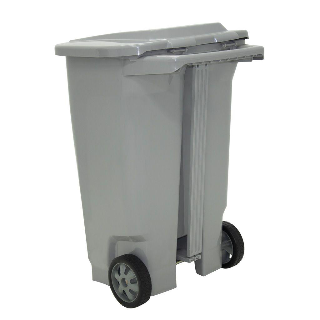 Lixeira    100lt c/ roda plastico tramontina cinza t-force ref. 92815210