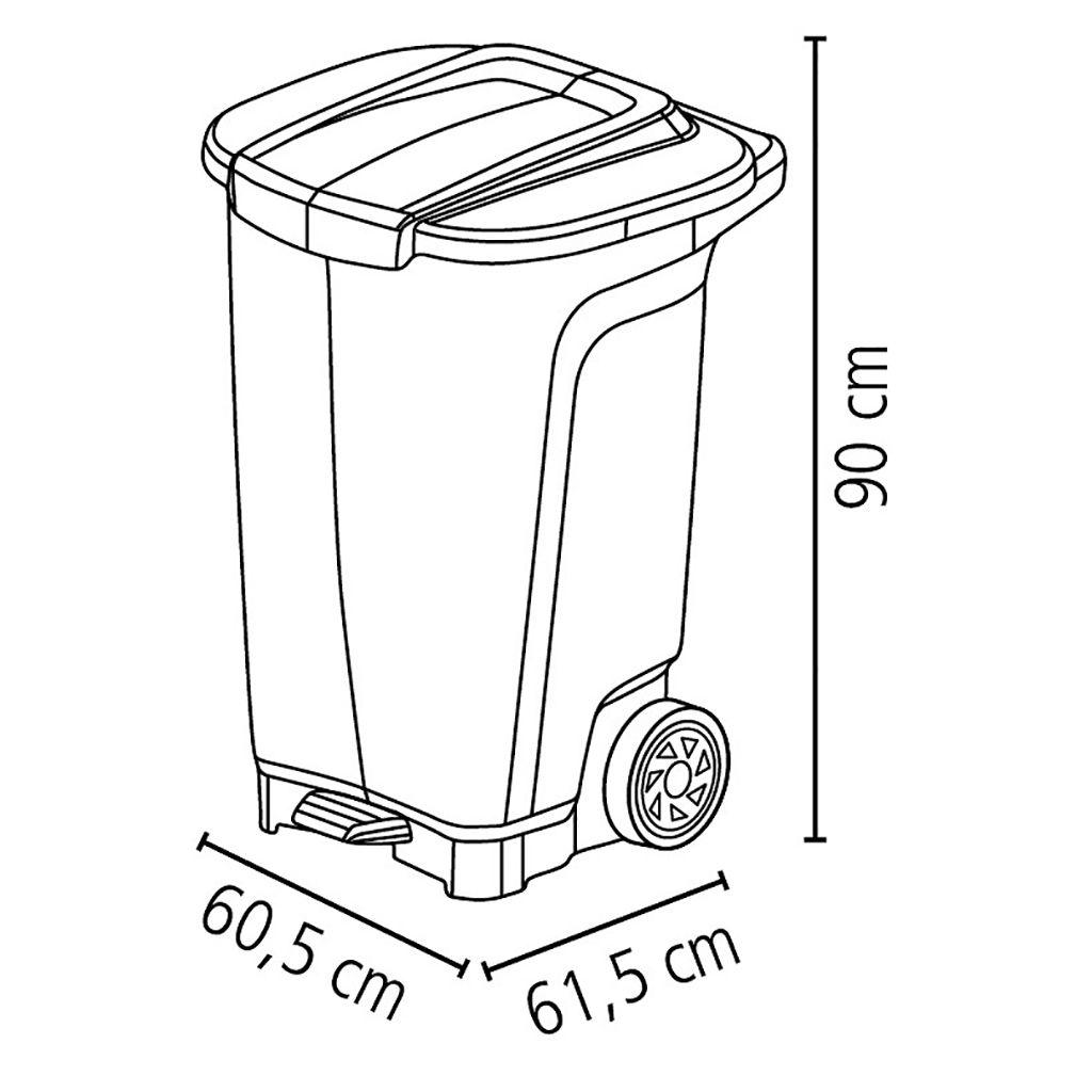 Lixeira 100lt c/ roda plastico tramontina preto t-force  ref. 92815009