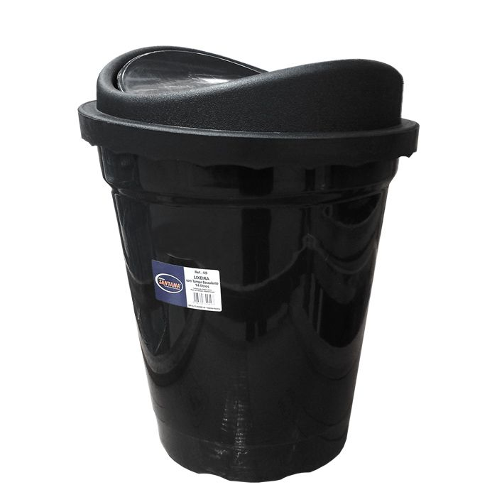 Lixeira      14lt basculante plastico santana preta ref. 49