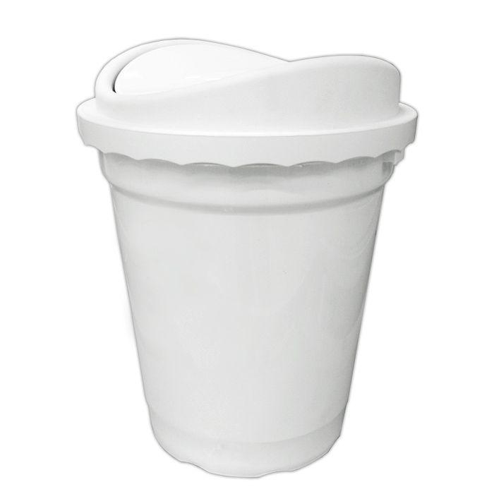 Lixeira   14lt basculante plastico santana tampa branca ref. 49