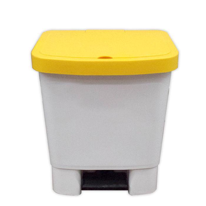 Lixeira 25lt c/ pedal della plast retangular tampa amarela ref. 1001/ 02