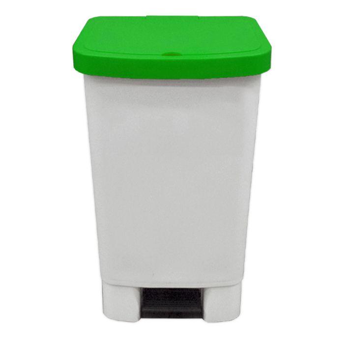 Lixeira   50lt c/ pedal della plast retangular tampa verde ref. 4100.17