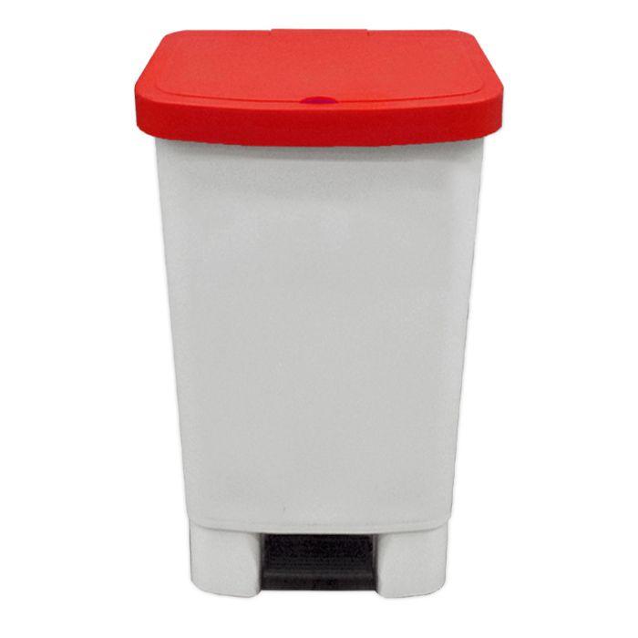 Lixeira      50lt c/ pedal della plast retangular tampa vermelha ref. 4100.13