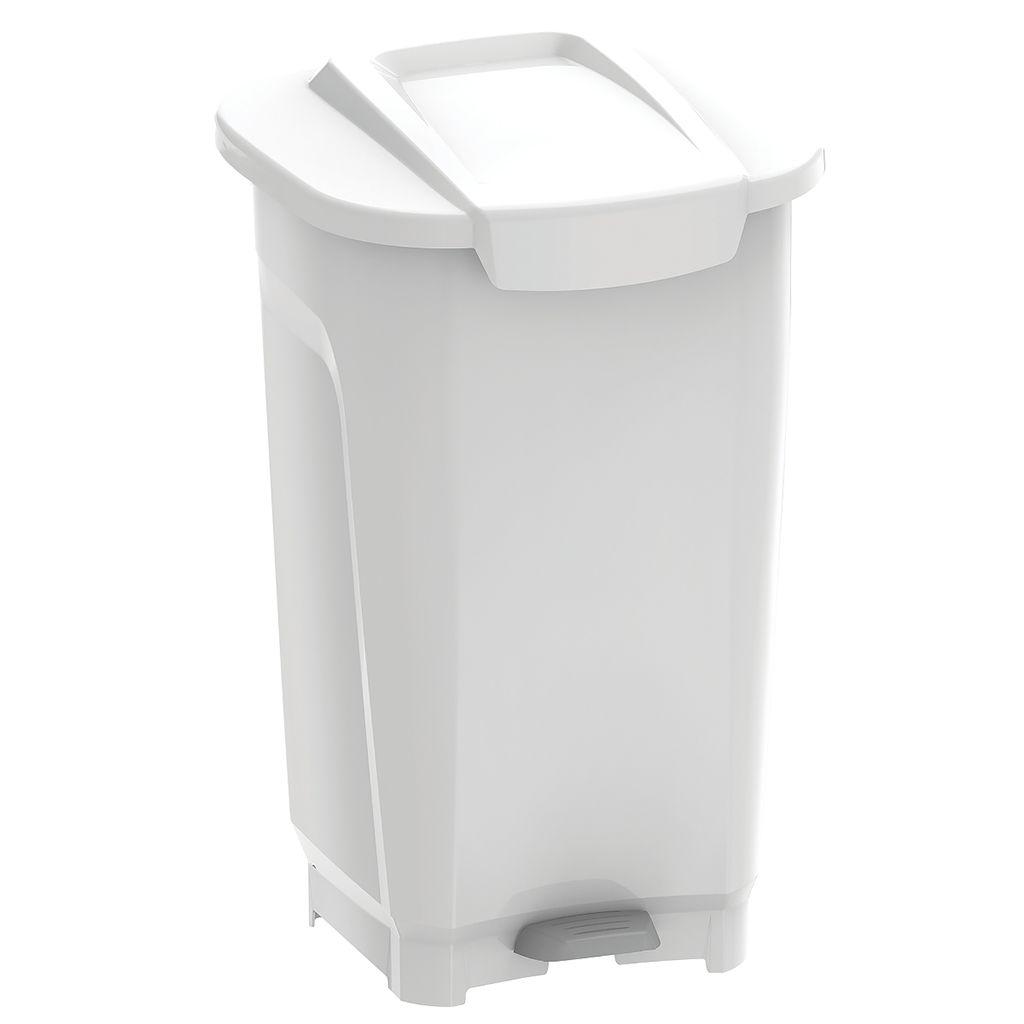 Lixeira      50lt c/ pedal plastico tramontina branco t-force ref. 92813010