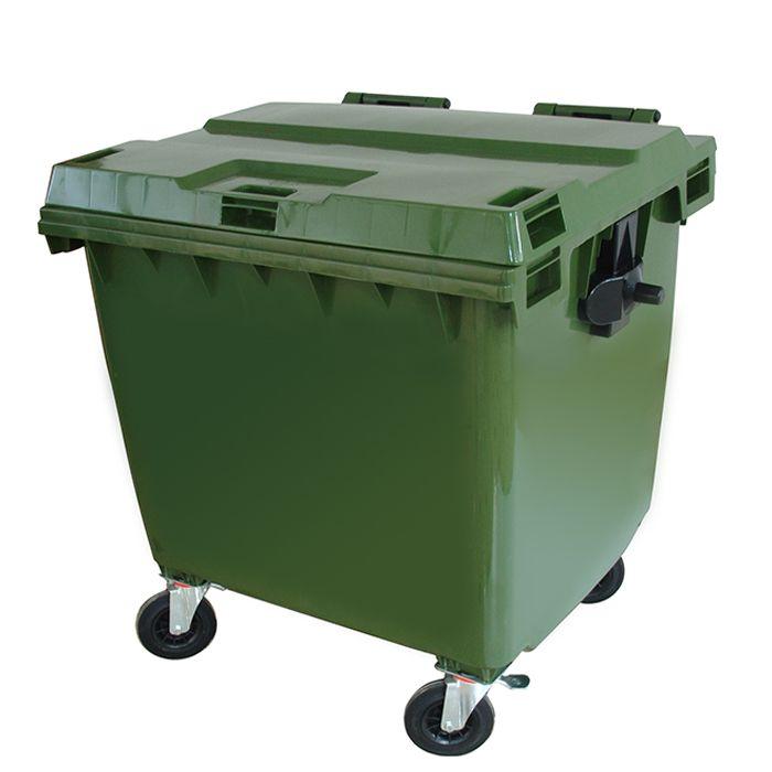 Lixeira Contêiner 1000L De Plástico Injetado Com Rodas - Verde