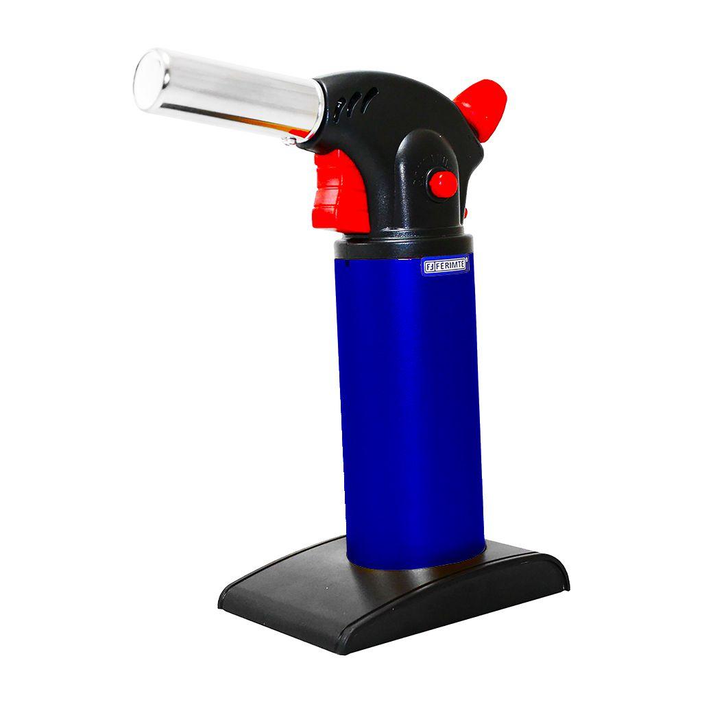 Macarico a gas recarregavel p/ culinaria azul ferimte ref. ma0053