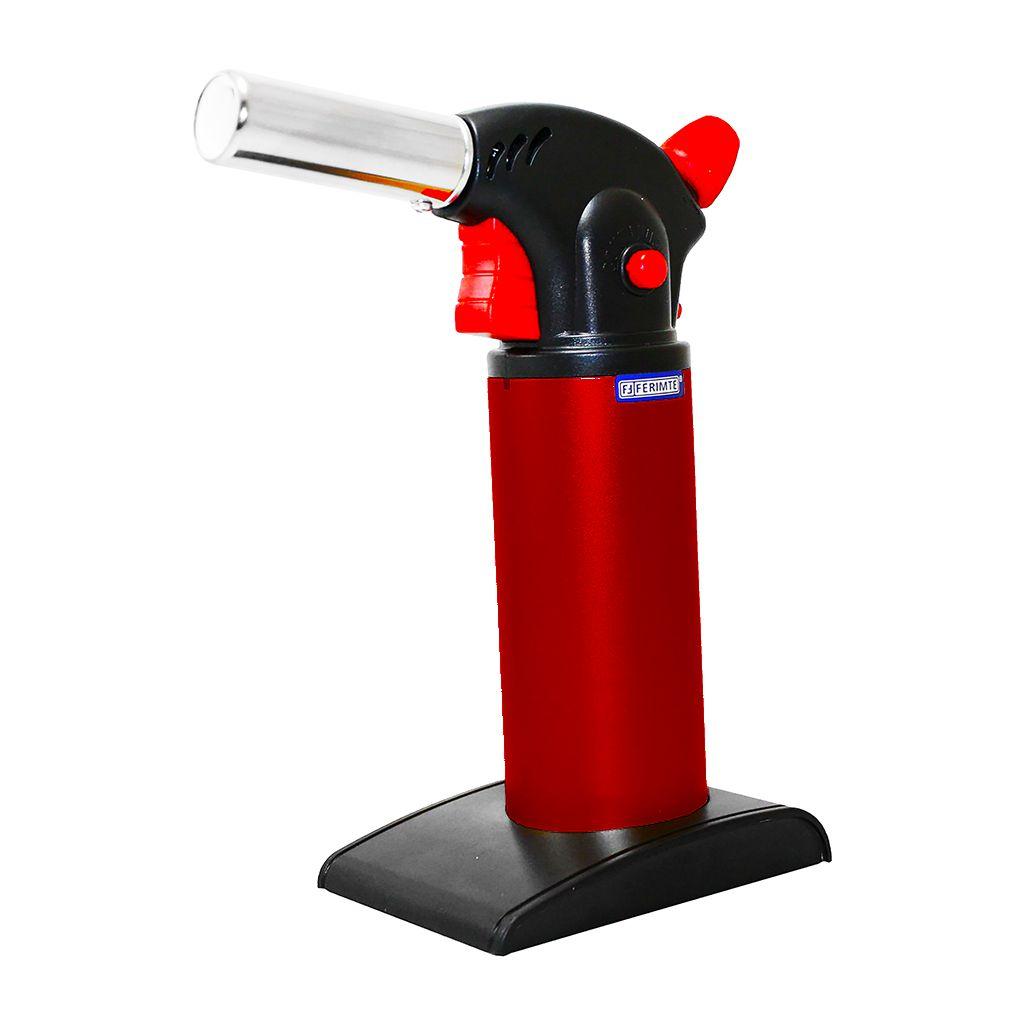 Macarico a gas recarregavel p/ culinaria vermelho ferimte ref. ma0053