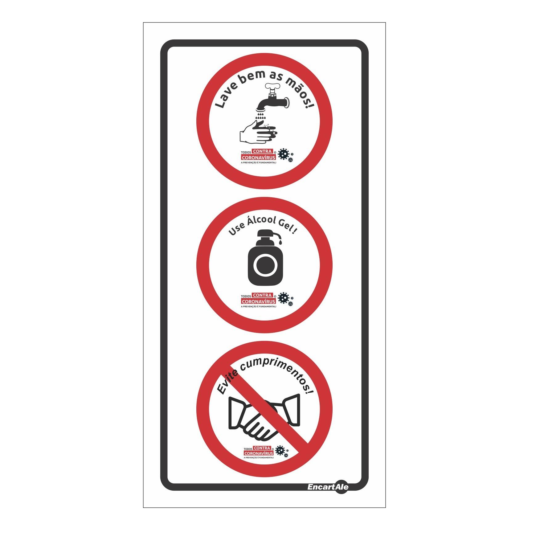 Placa Atenção! Lavar As Mãos/Álcool Gel/Não Cumprimentar SB79 (20x10cm)