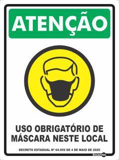 Placa Atenção! Uso Obrigatório De Máscara Neste Local PS265 (40X30cm)