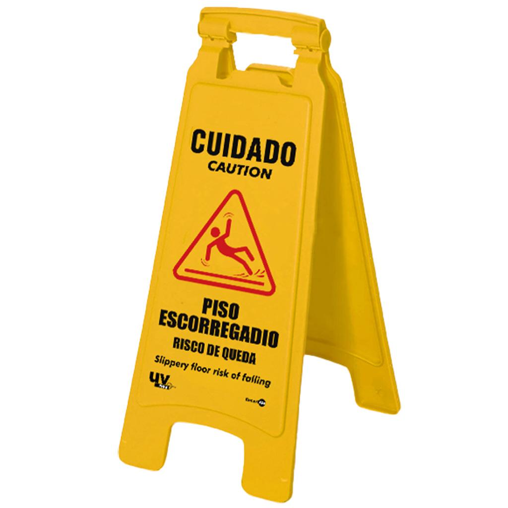 Placa Dobravel Cuidado! Piso Escorregadio CD02 (65,5x27,5cm)