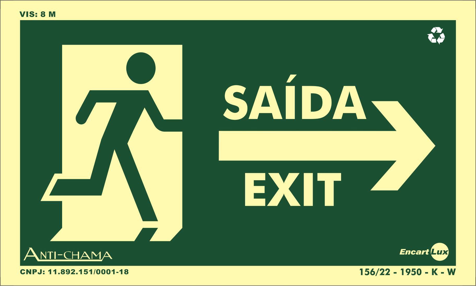 Placa Fotoluminescente Saída/Exit/Seta Para Direta S22D (25x15cm)