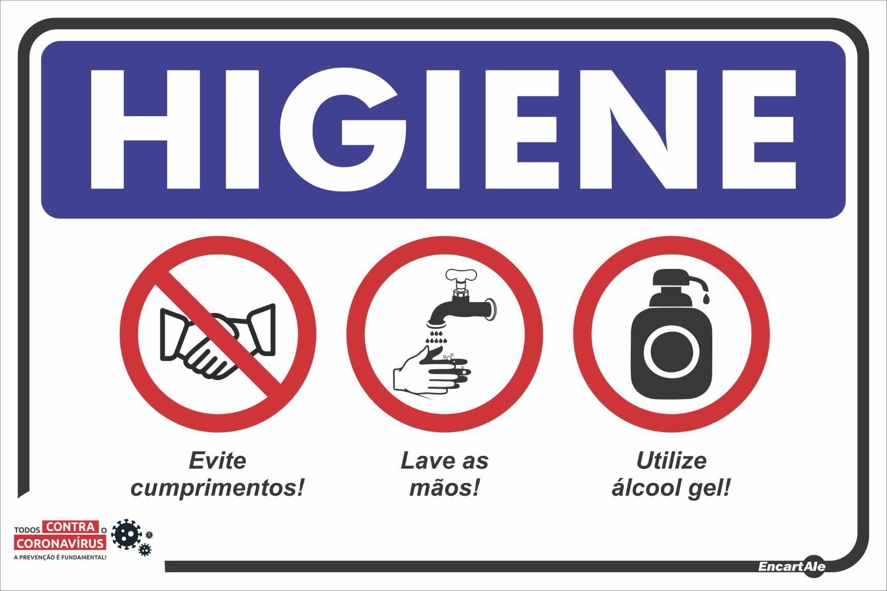 Placa Higiene/Não Cumprimentar/Lavar As Mãos/Álcool Gel PS483 (30x20cm)