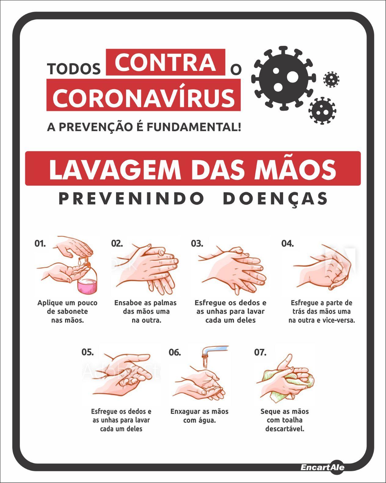 Placa Lavagem Das Mãos, Previnindo Doenças AV76 (25x20cm)