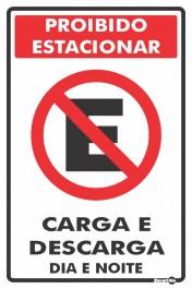 Placa Proibido Estacionar Carga/Descarga PS113 (30x20cm)
