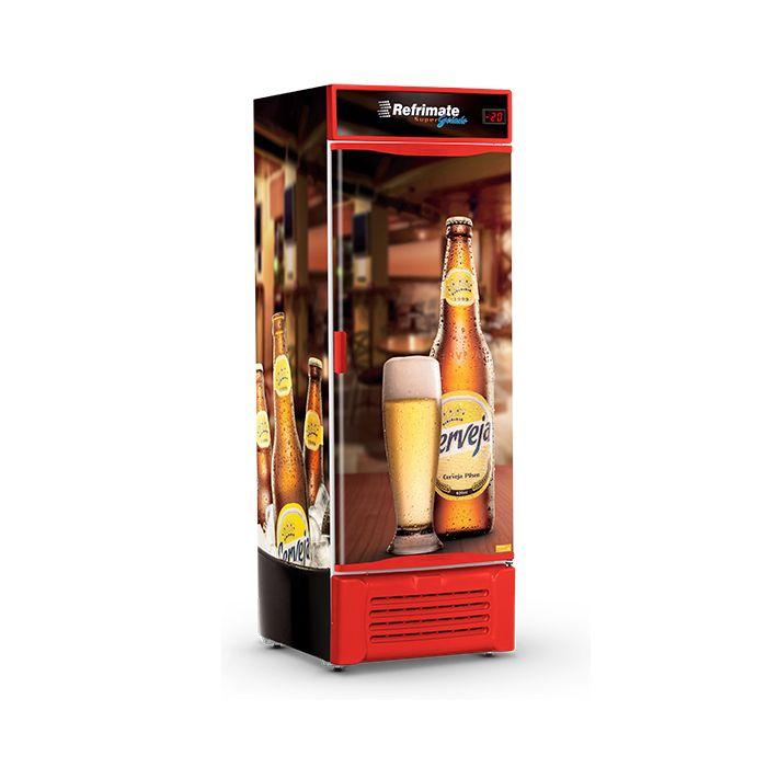 Refrigerador vert.p.cega 600lt 127v cervejeira vermel.refrimate mod.vcc600