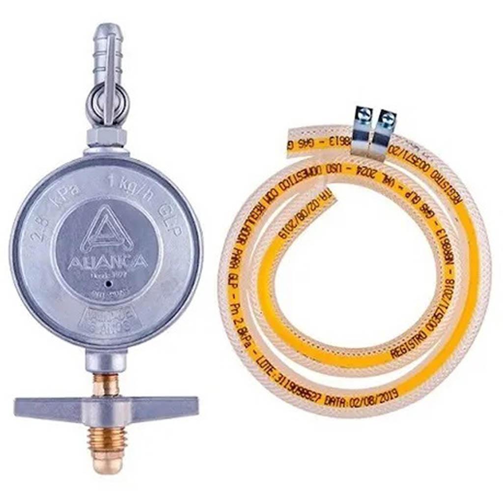 Regulador para Gás Aliança 1kg/H Com Mangueira 80cm