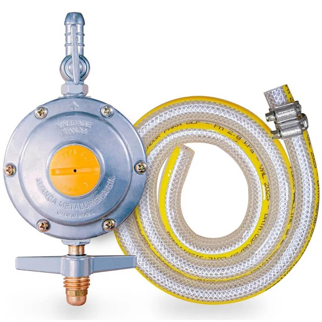 Regulador para Gás Aliança 2kg/H Com Mangueira 80cm