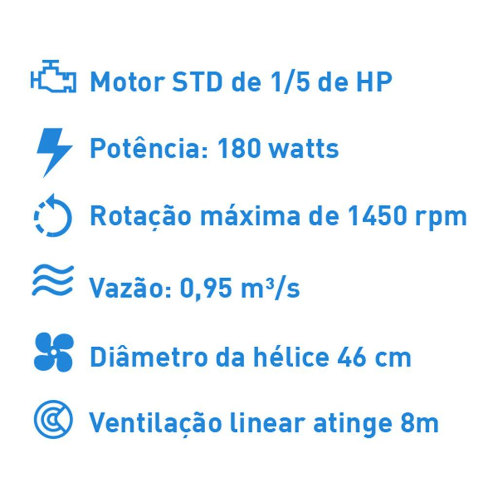 Ventilador de mesa solaster 50cm 127v preto 3v mod. b2 pr std