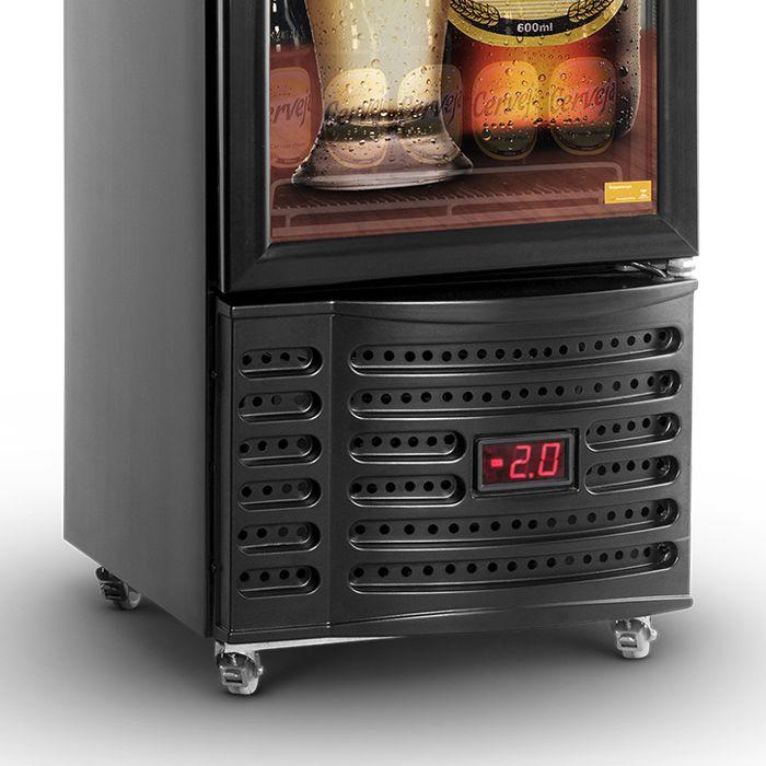 Vitrine expositora vertical 230lt 127v cervejeira preto refrimate mod.vcshb230v