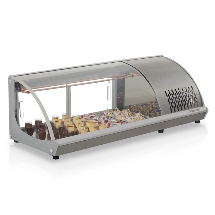 Vitrine refrigerada 1,20 mt 127v p/ sushi tortas gelopar cor inox mod.gvrb-120